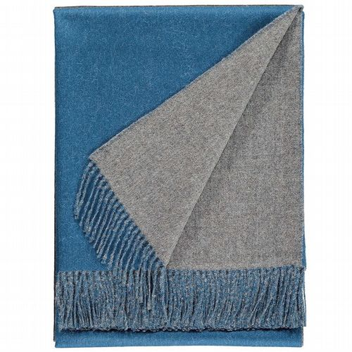 Baby Alpaca Wool - Two Tone Throw - Teal Blue & Grey